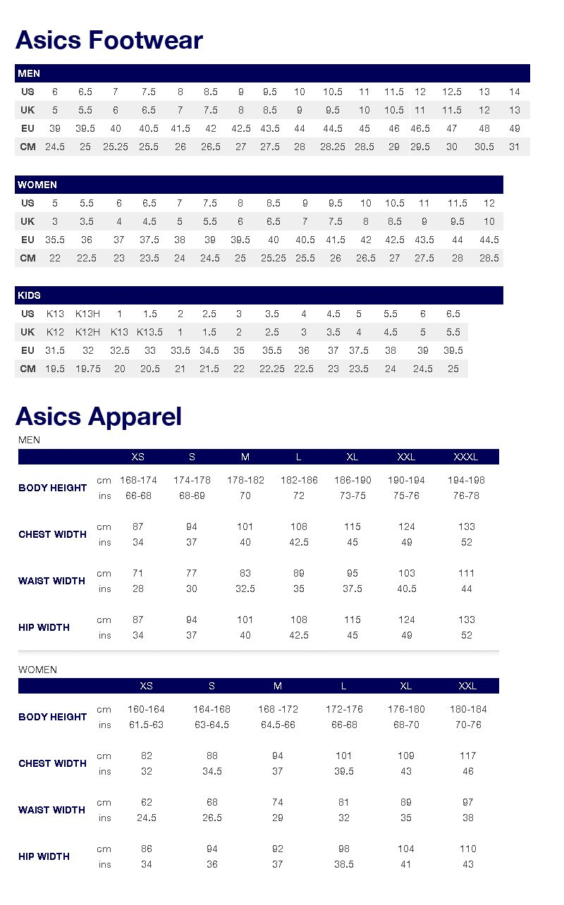 Dsrv Asics Chart Clothing