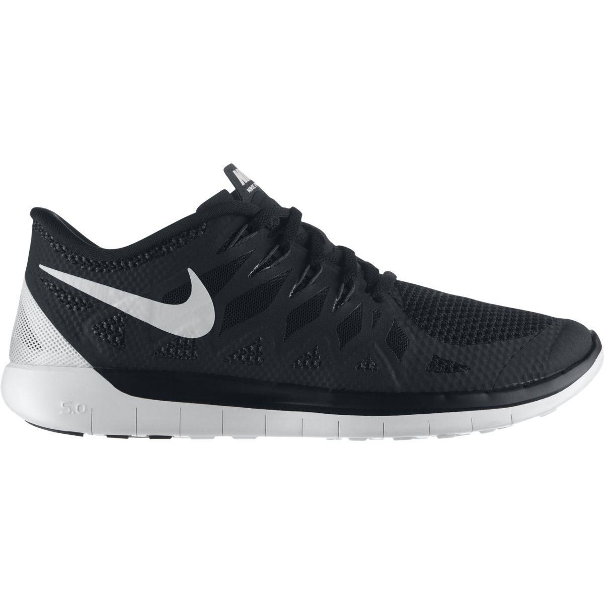 nike mens free 5 0 running shoes black white