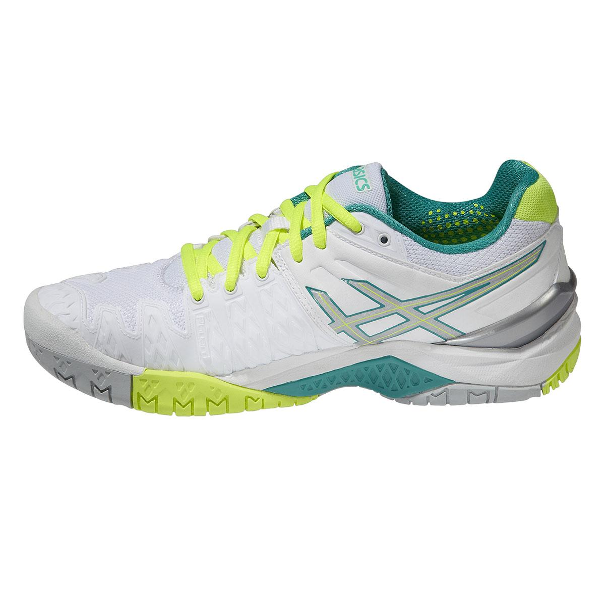 Asics Womens GEL Resolution 6 Tennis Shoes - White/Emerald Green