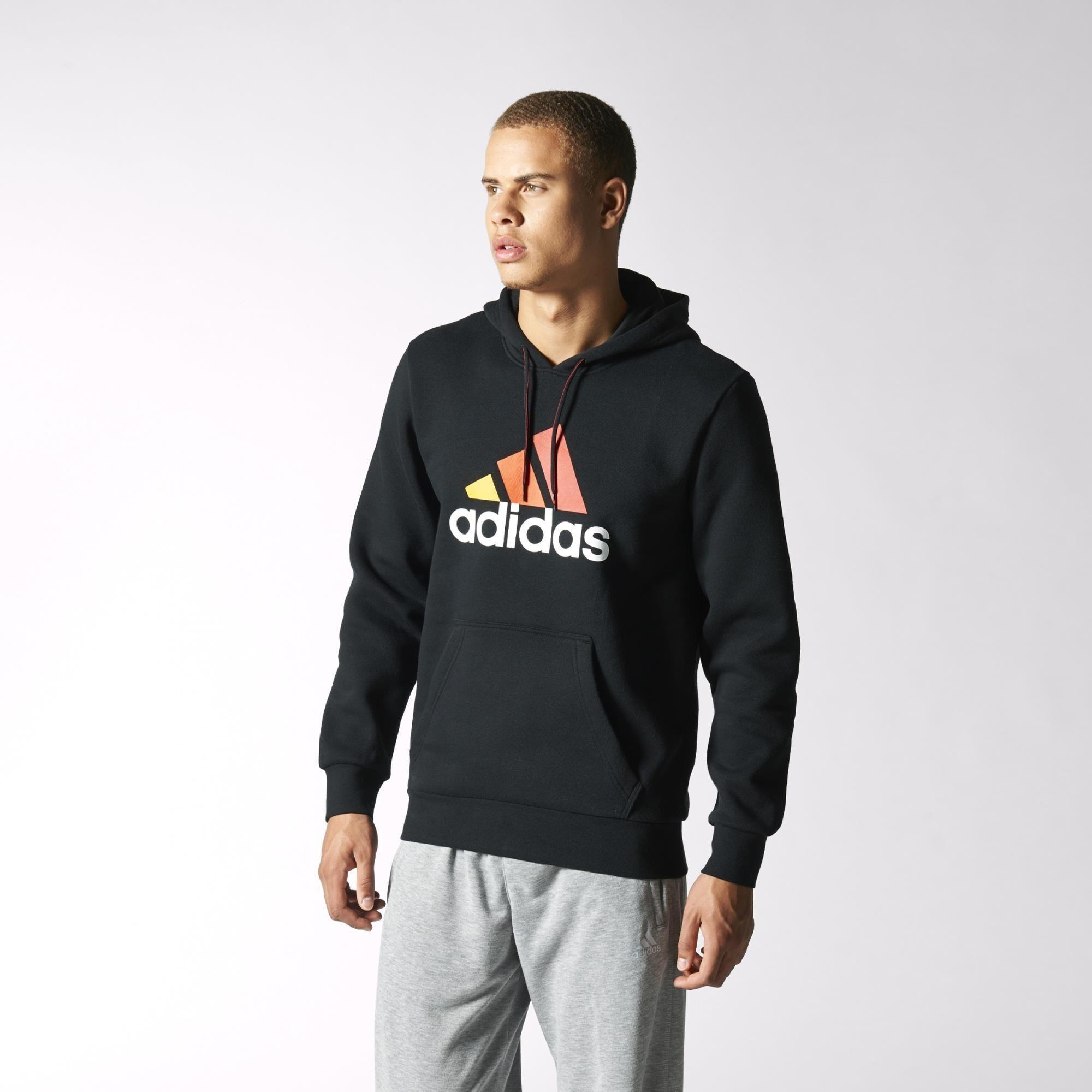 adidas mens essentials logo hoodie black. Black Bedroom Furniture Sets. Home Design Ideas