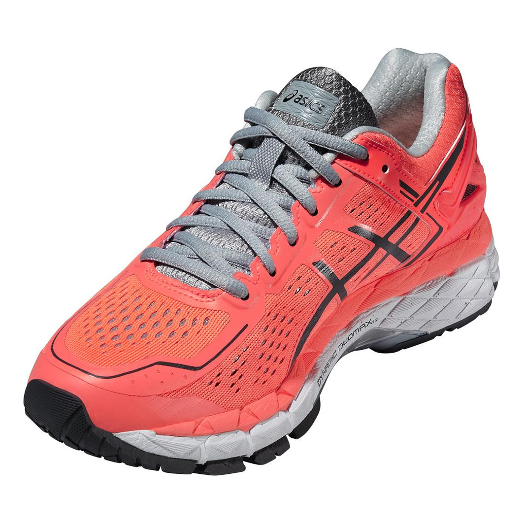 asics womens gel kayano 22 running shoes coral grey. Black Bedroom Furniture Sets. Home Design Ideas