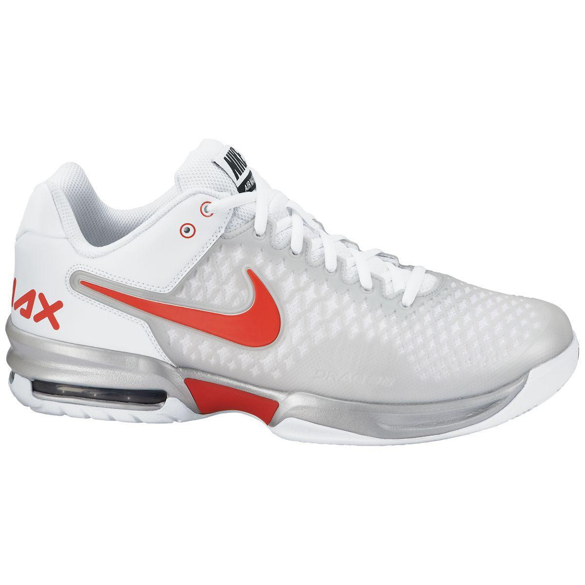 nike mens air max cage tennis shoes silver light crimson
