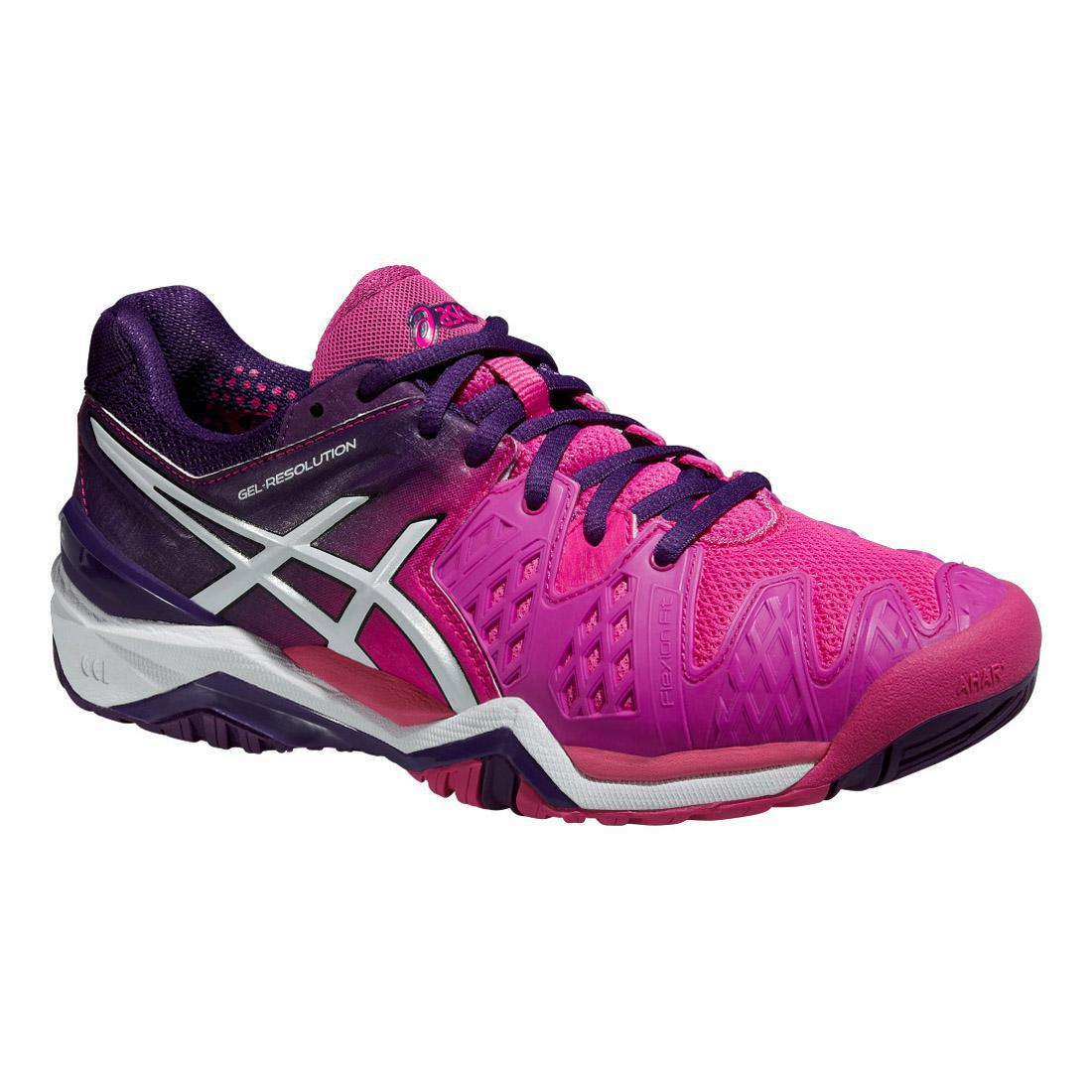 asics womens gel resolution 6 tennis shoes pink purple