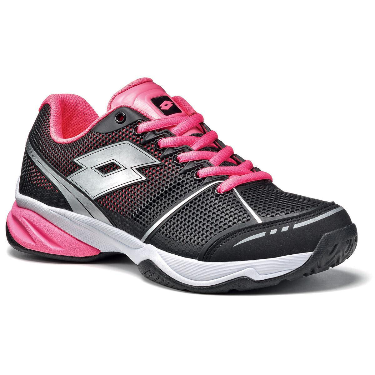 lotto womens viper ultra tennis shoes black fluo pink