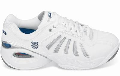 K-Swiss Mens Defier miSoul Tech Tennis Shoes- White/Platinum (+ free bag)