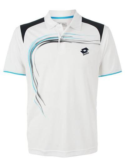 Lotto Mens Trail Polo- White / Deep Navy / Cyan