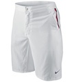 Nike Mens RF Hard Court Twill Shorts- White/University Red/Obsidian