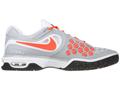 Nike Mens Air Max CourtBallistec 4.3 Tennis Shoes - Stadium Grey / Total Crimson / White