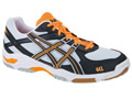 Asics GEL-Task Indoor Squash/Badminton Shoes- White/Black/Neon-Orange