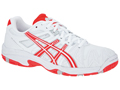 Asics Kids Gel Resolution 5 OC Junior Tennis Shoes- White/Diva Pink/Lightning