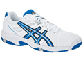 Asics Kids Gel Resolution 5 OC Junior Tennis Shoes- White/Royal Blue/Lightning