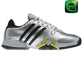 Adidas Mens adipower Barricade Tennis Shoes - Metallic Silver / Black / Vivid Yellow