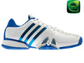 Adidas Mens adipower Barricade Tennis Shoes - Running White / Prime Blue / Mettalic Silver