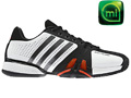Adidas Mens adiPower Barricade 7.0 Tennis Shoes- White/Black/Iron