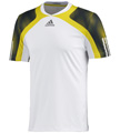 Adidas Mens Semi Fit Crew Tee - White / Vivid Yellow