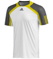 Adidas Mens Barricade Crew Tee - White / Vivid Yellow