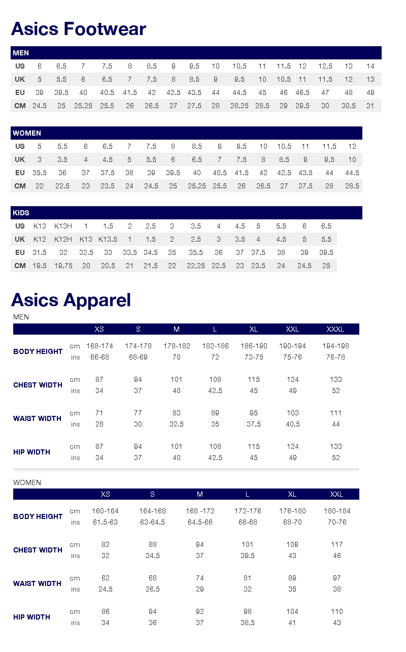 asics running jacket size guide