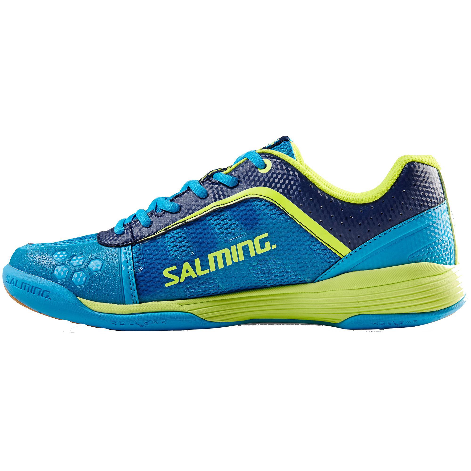 Salming Mens Adder Indoor Court Shoes - Cyan/Yellow
