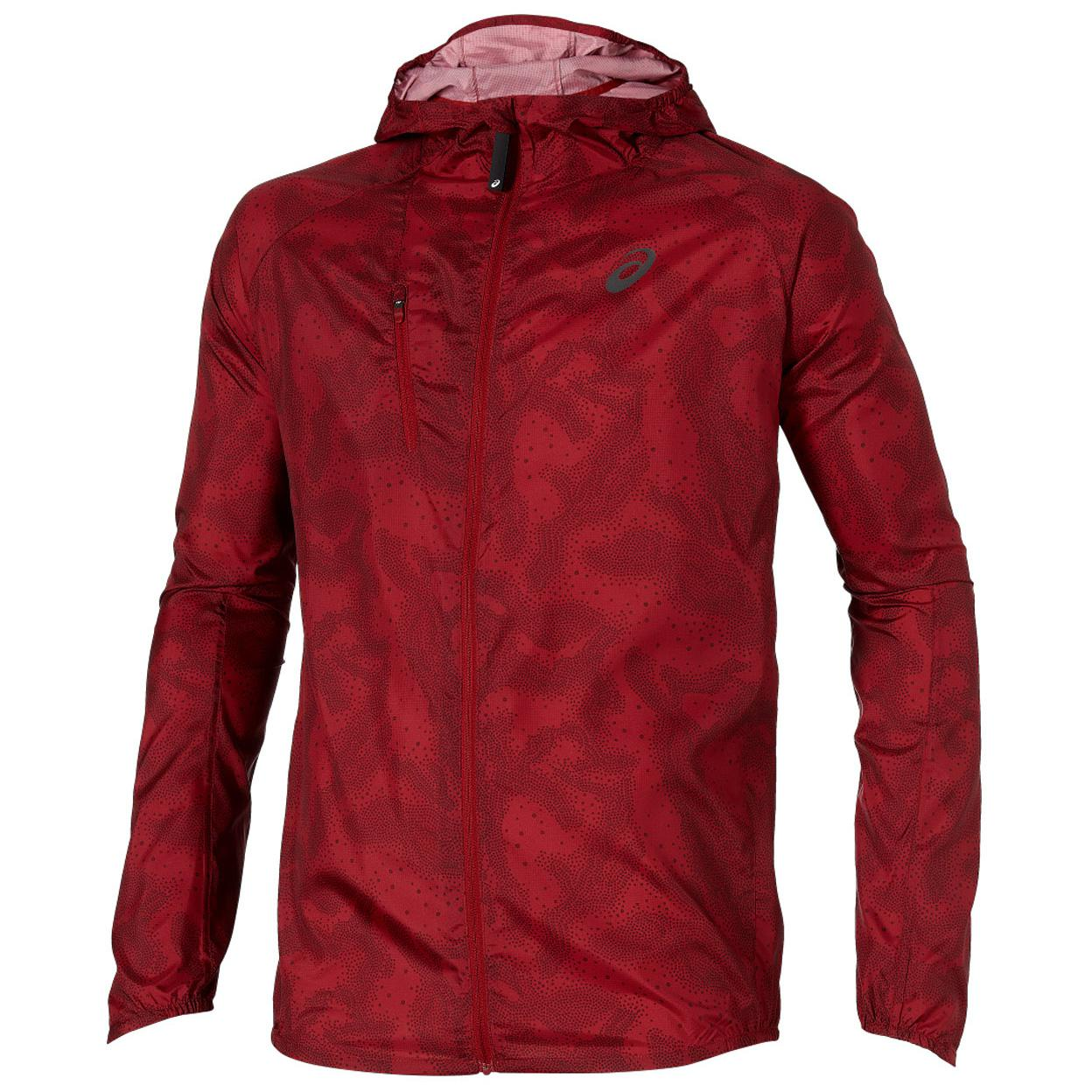 asics running jacket mens red