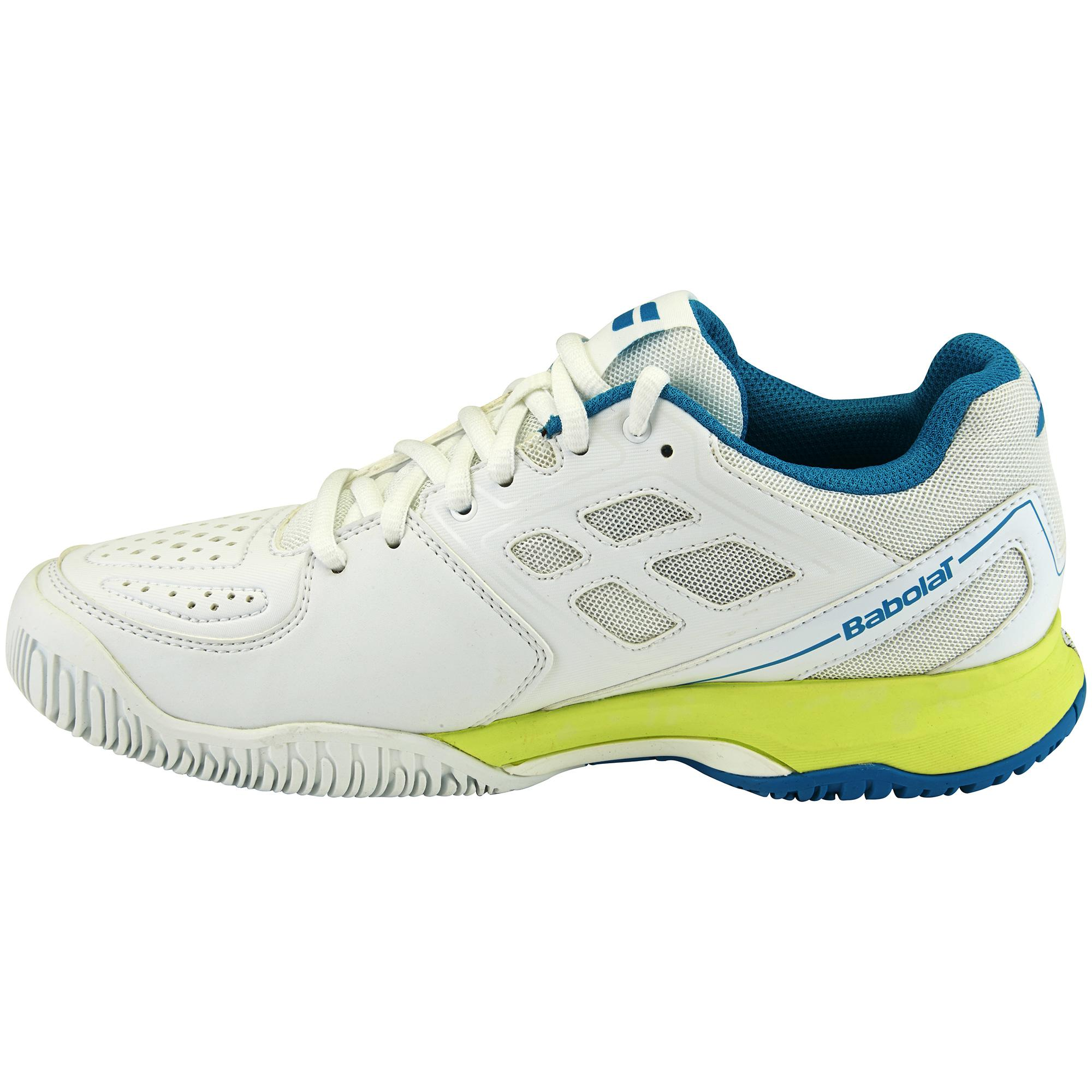 babolat womens pulsion all court tennis shoes white blue