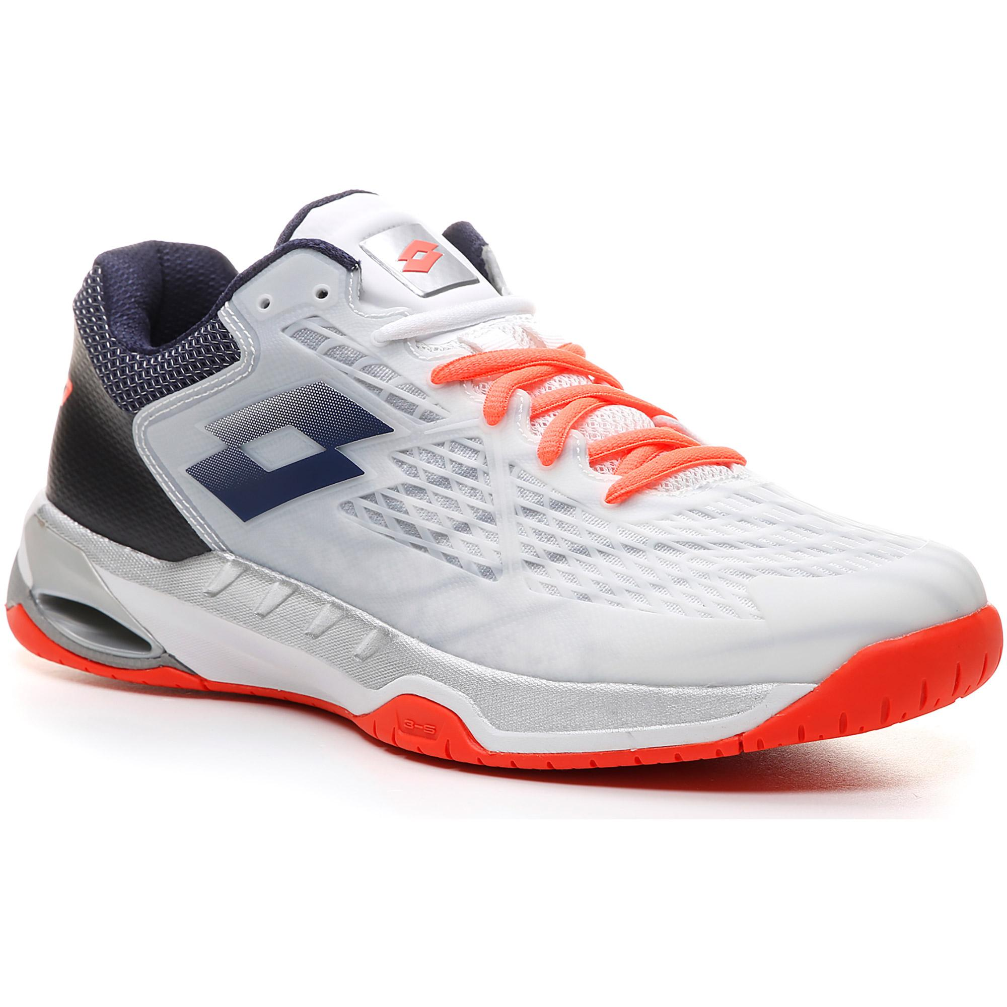 new arrival bcd97 39c16 Lotto Mens Mirage 100 Tennis Shoes - All White Navy Blue Orange -  Tennisnuts.com