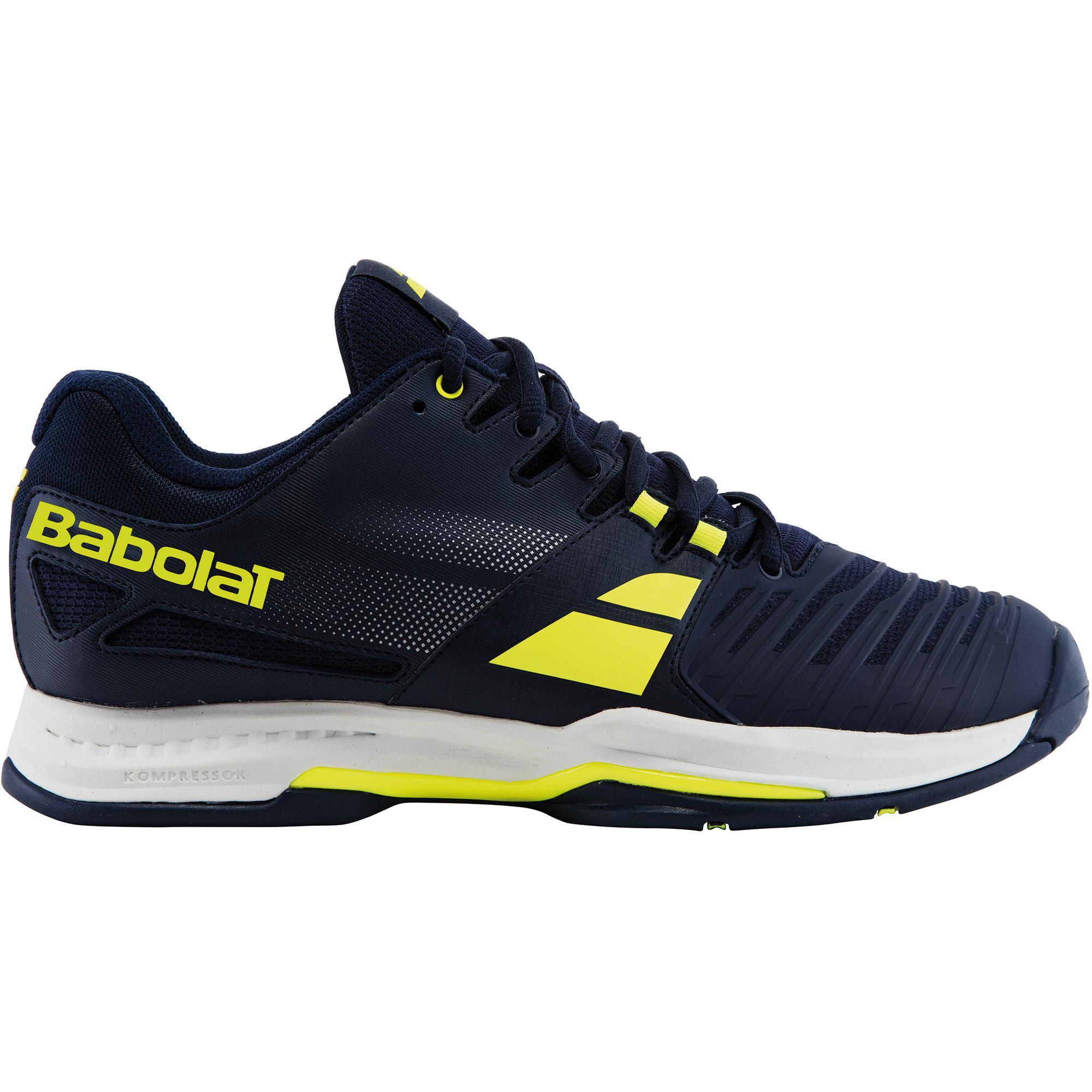 babolat mens sfx tennis shoes blue yellow tennisnuts