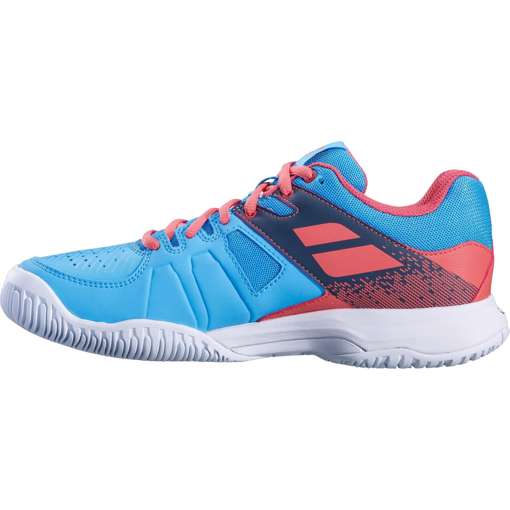 57039cca9963 Babolat Womens Pulsion Tennis Shoes - Sky Blue Pink - Tennisnuts.com