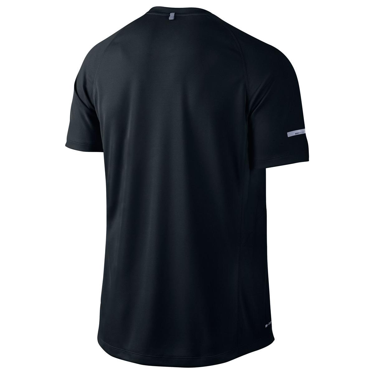 Nike mens miler uv short sleeve running shirt black for Nike short sleeve shirt
