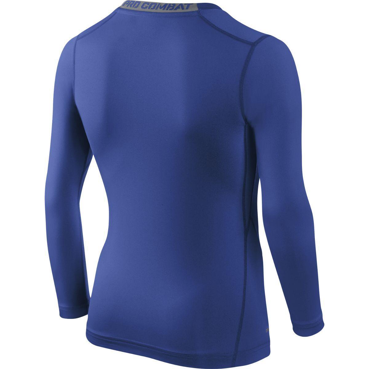 Nike Boys Pro Core Compression Ls Top Blue