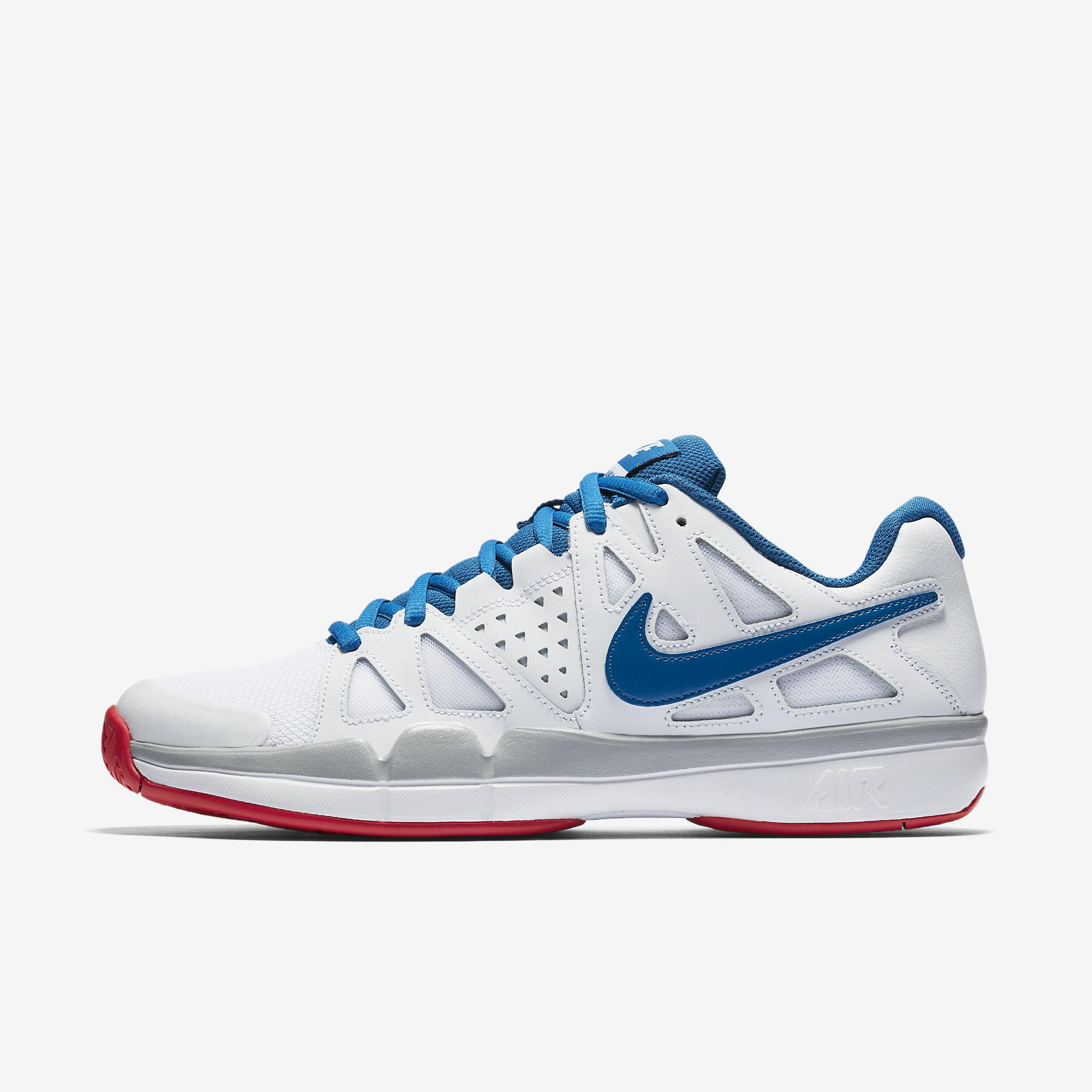 Nike Mens Air Vapor Advantage Tennis Shoes - White Blue Red - Tennisnuts.com e14be7af6