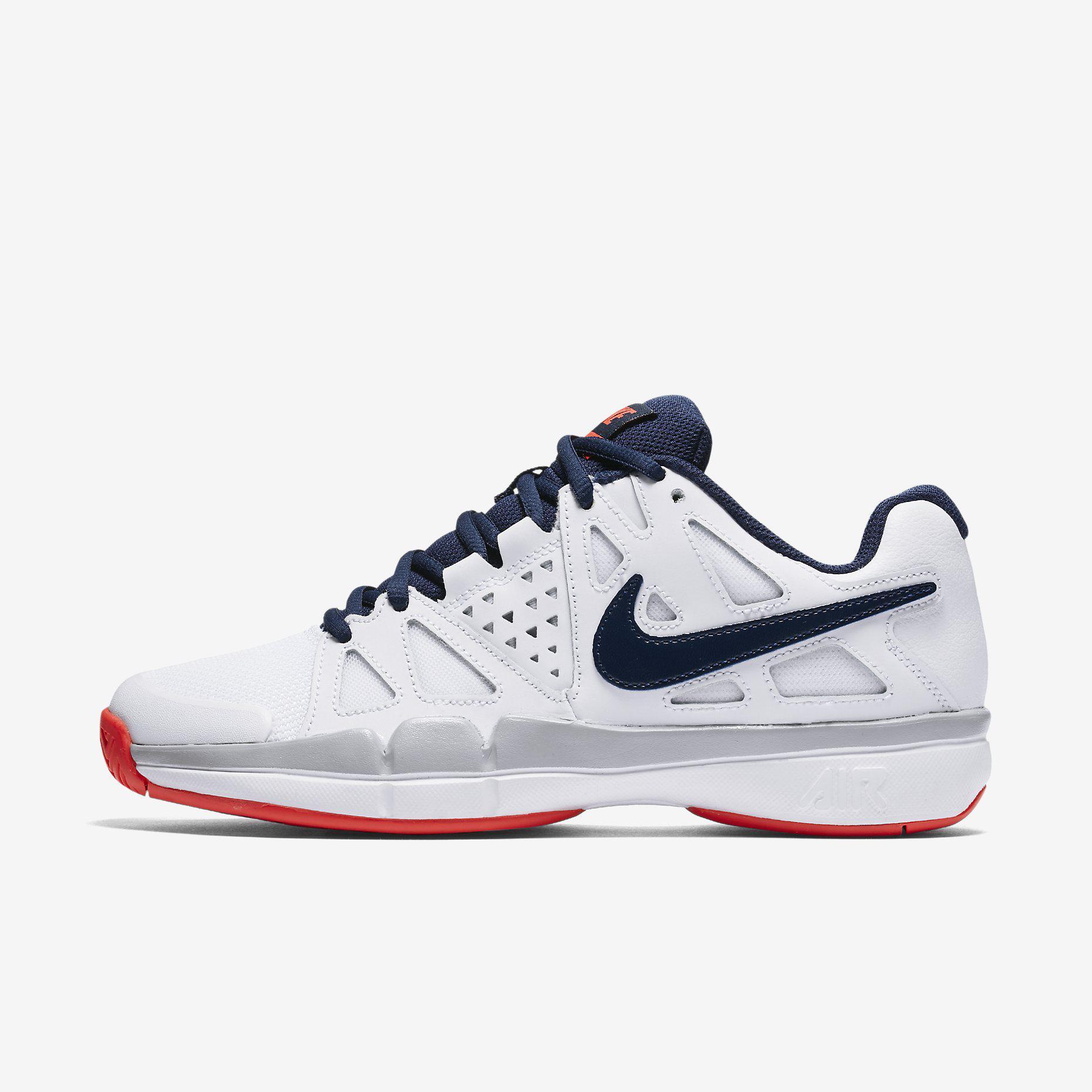eb4fb192b064 Nike Womens Air Vapor Advantage Tennis Shoe - White Blue Red -  Tennisnuts.com