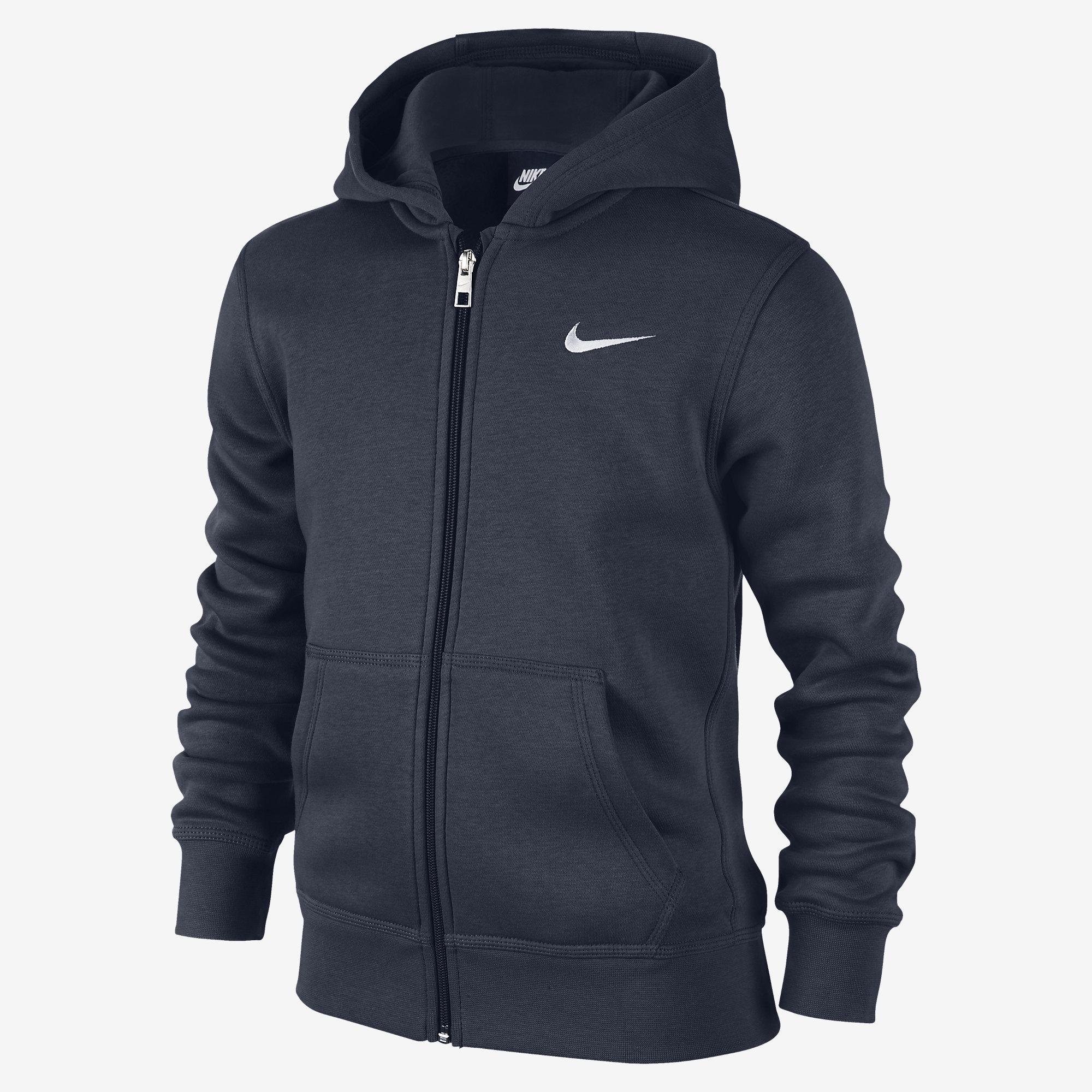 nike boys ya76 brushed fleece full zip hoodie obsidian white. Black Bedroom Furniture Sets. Home Design Ideas