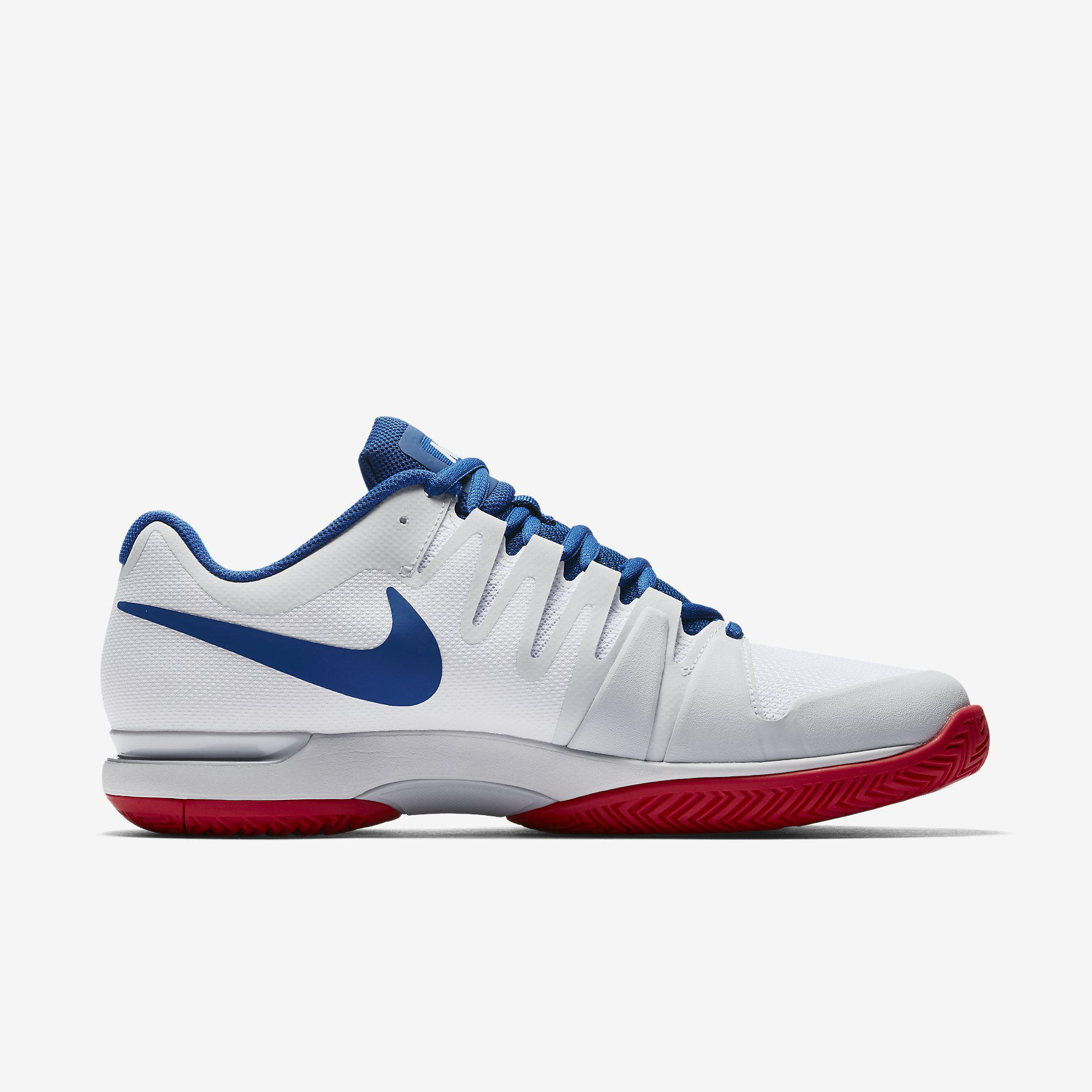 b685895cca077 Nike Mens Zoom Vapor 9.5 Tour Tennis Shoes - White Blue Red ...