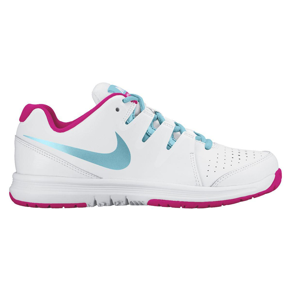 Nike Girls Vapor Court Tennis Shoes - White/Vivid Pink