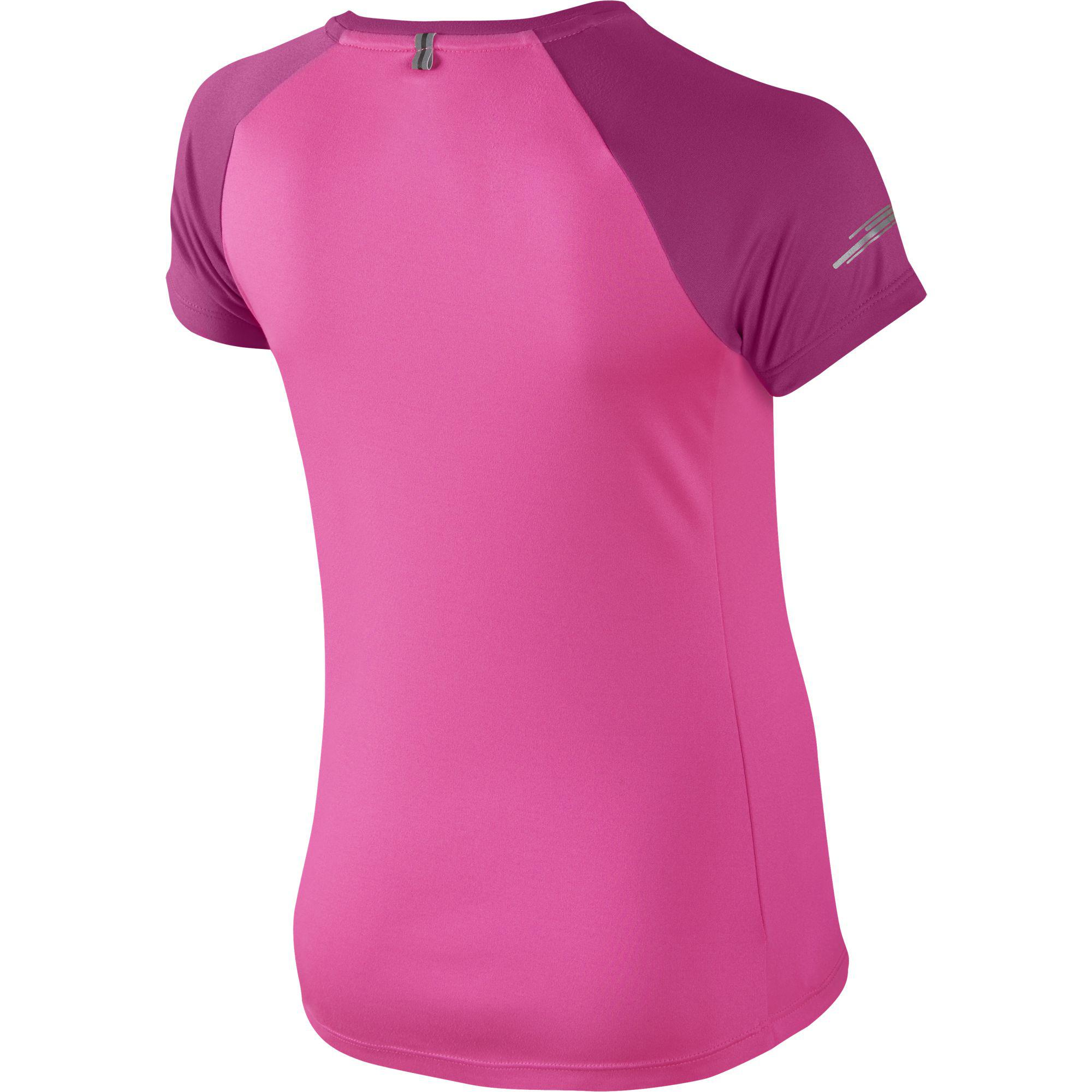 Nike girls miler running ss crew pink pow hot pink for Hot pink running shirt