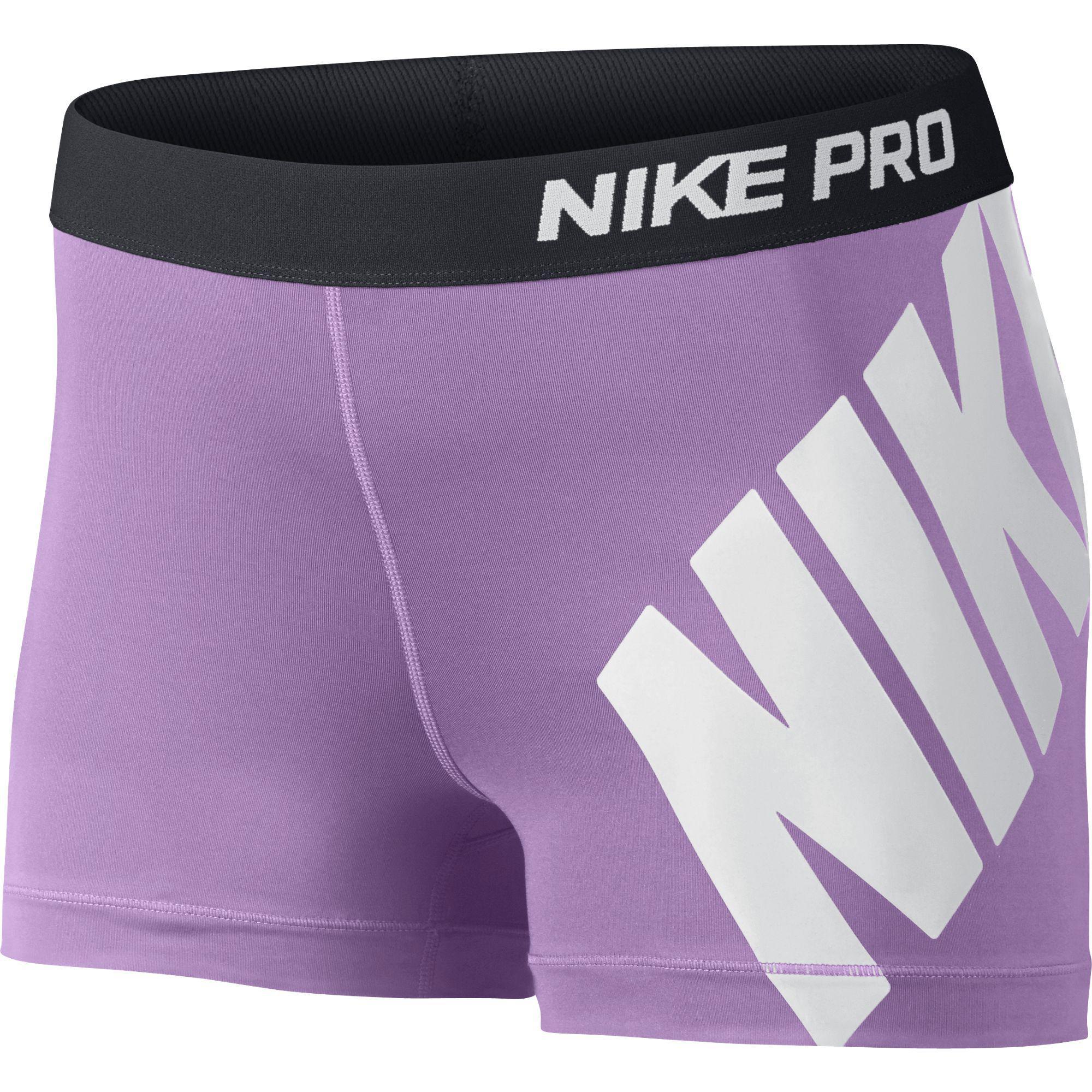 nike womens pro 3 inch logo training shorts violet shock