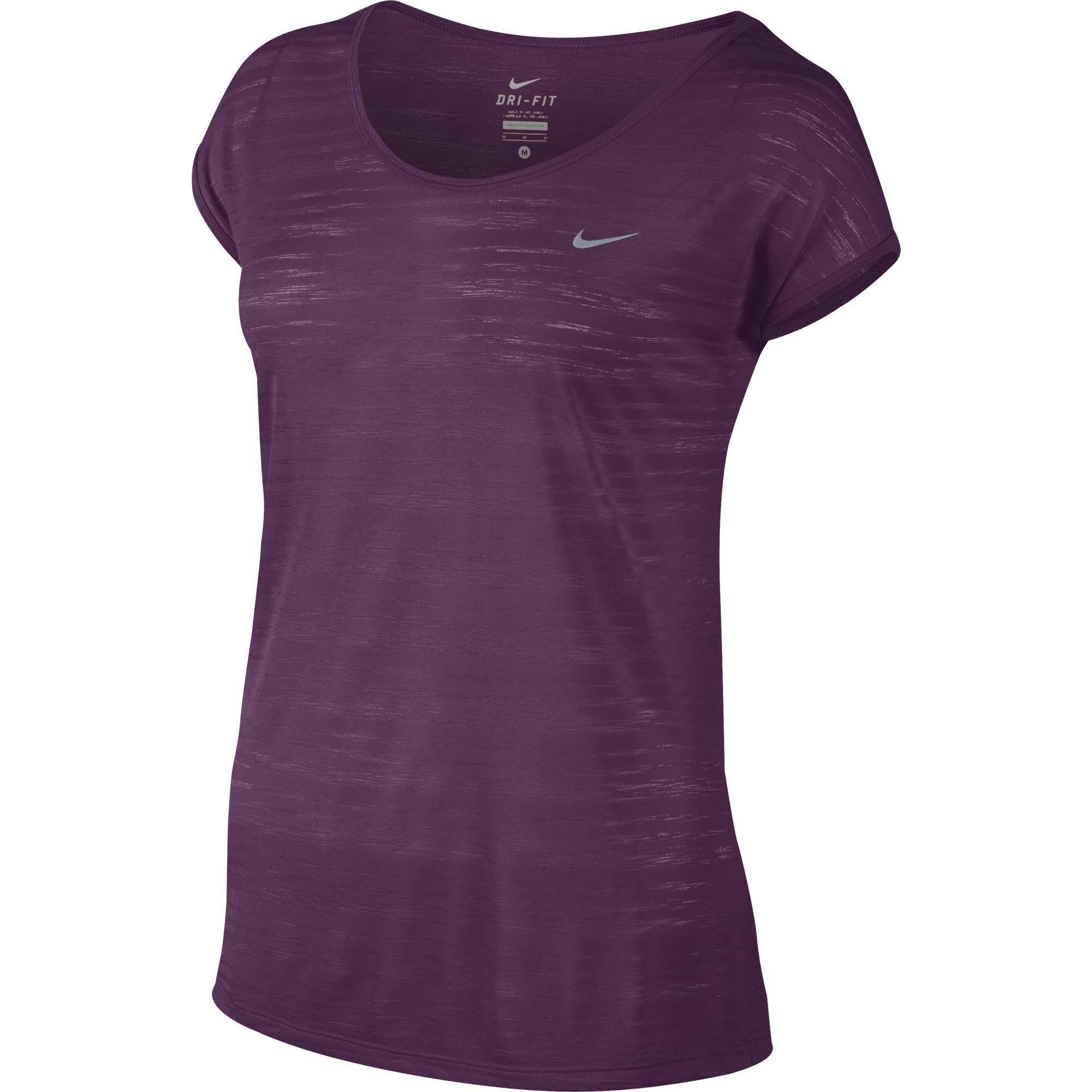 new styles 416a5 d41bc Nike Womens Dri-FIT Cool Breeze Running Top - Mulberry - Tennisnuts.com