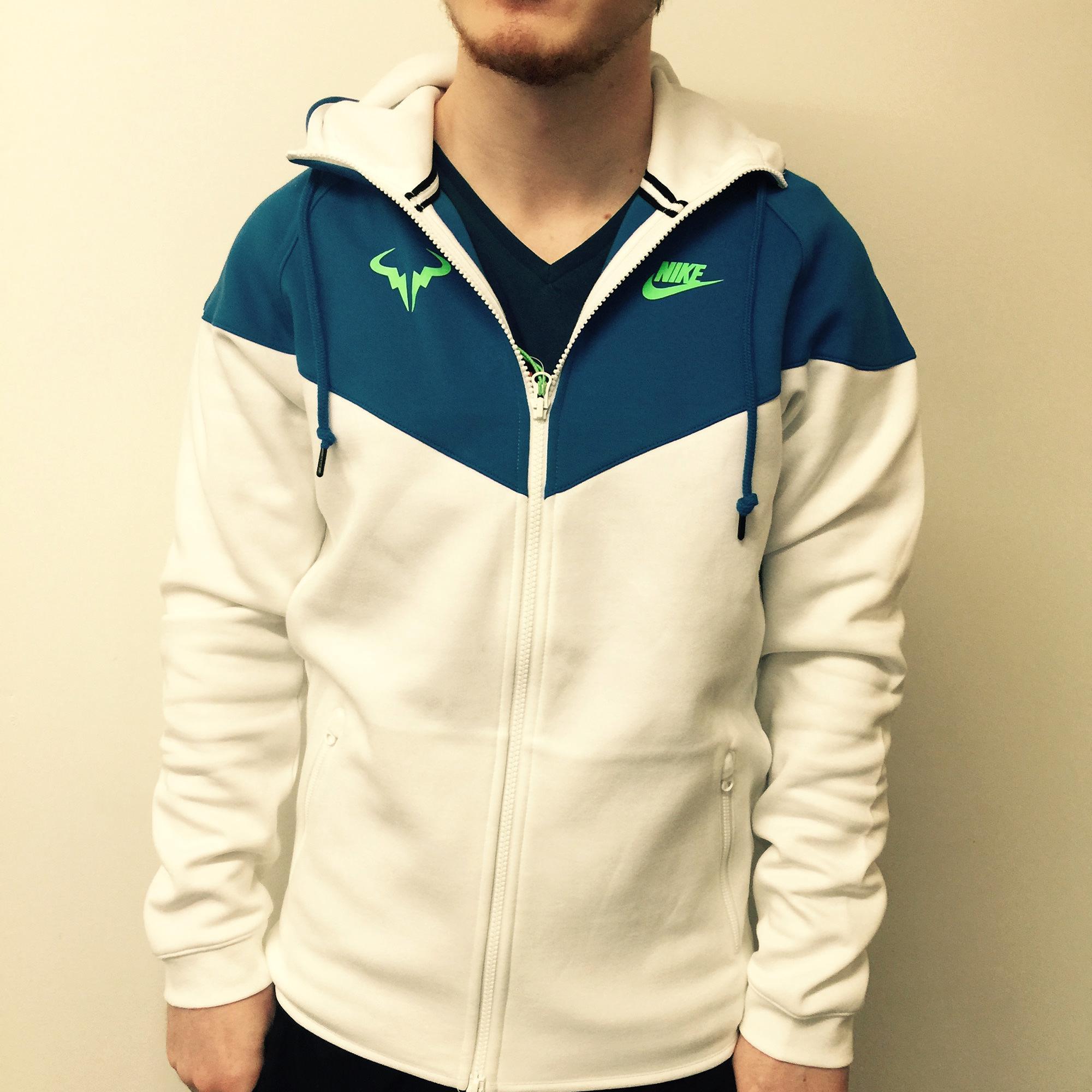 281f3a12d493 Nike Mens Premier Rafa Jacket - White Soar Green Strike - Tennisnuts.com