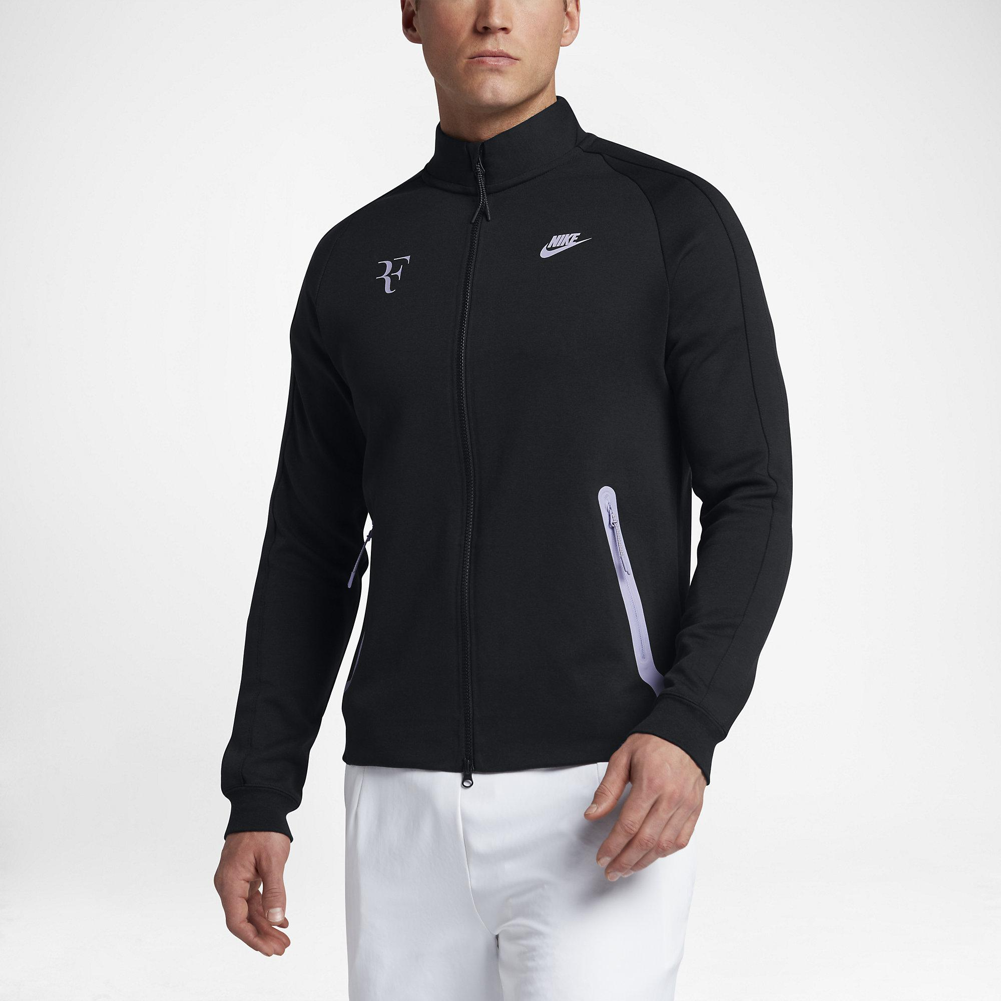 6deaaaa6bbe Nike Mens Premier RF Jacket - Black Hydrangeas - Tennisnuts.com