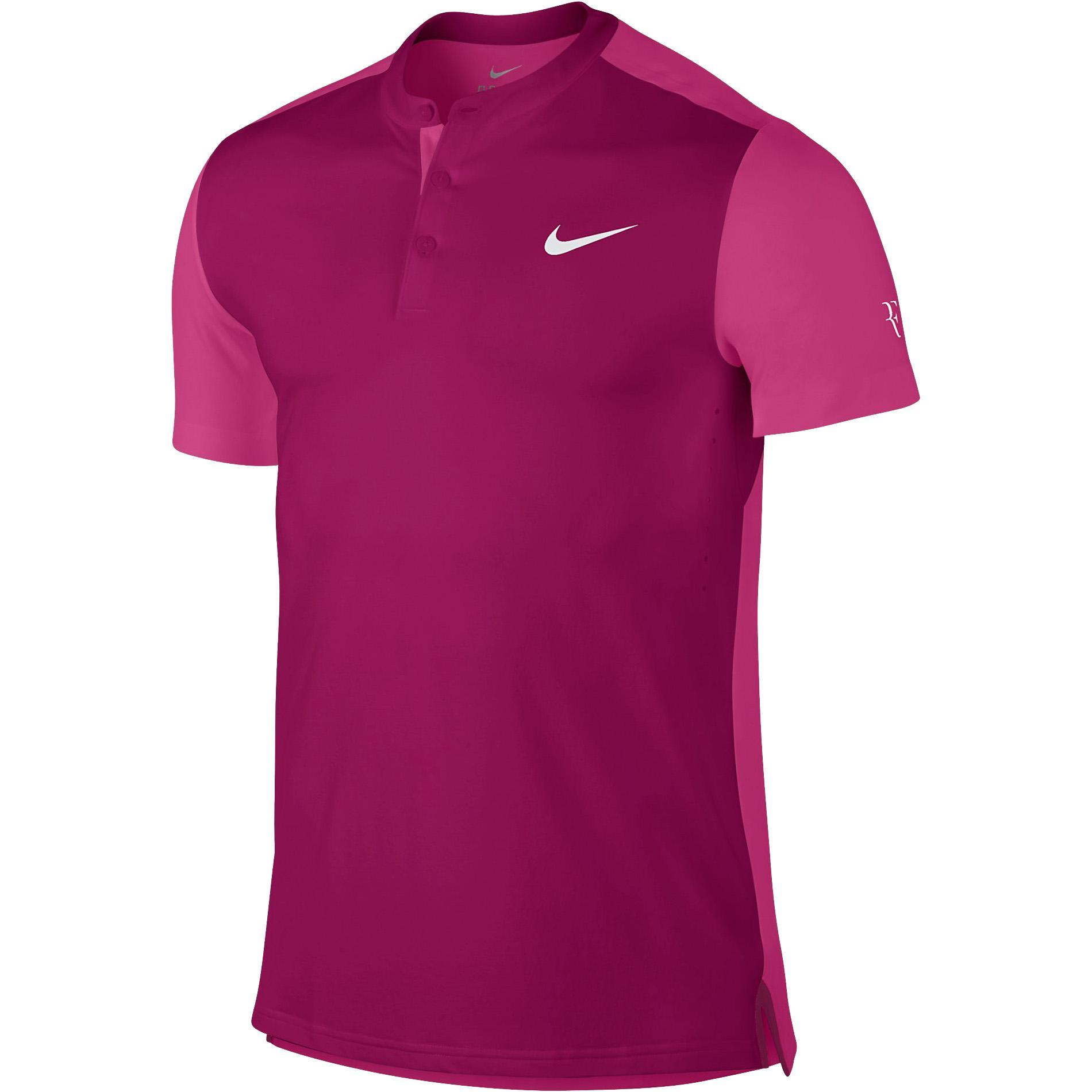 0377b6bb Nike Mens Premier RF Henley Shirt - Sport Fuchsia/Vivid Pink -  Tennisnuts.com
