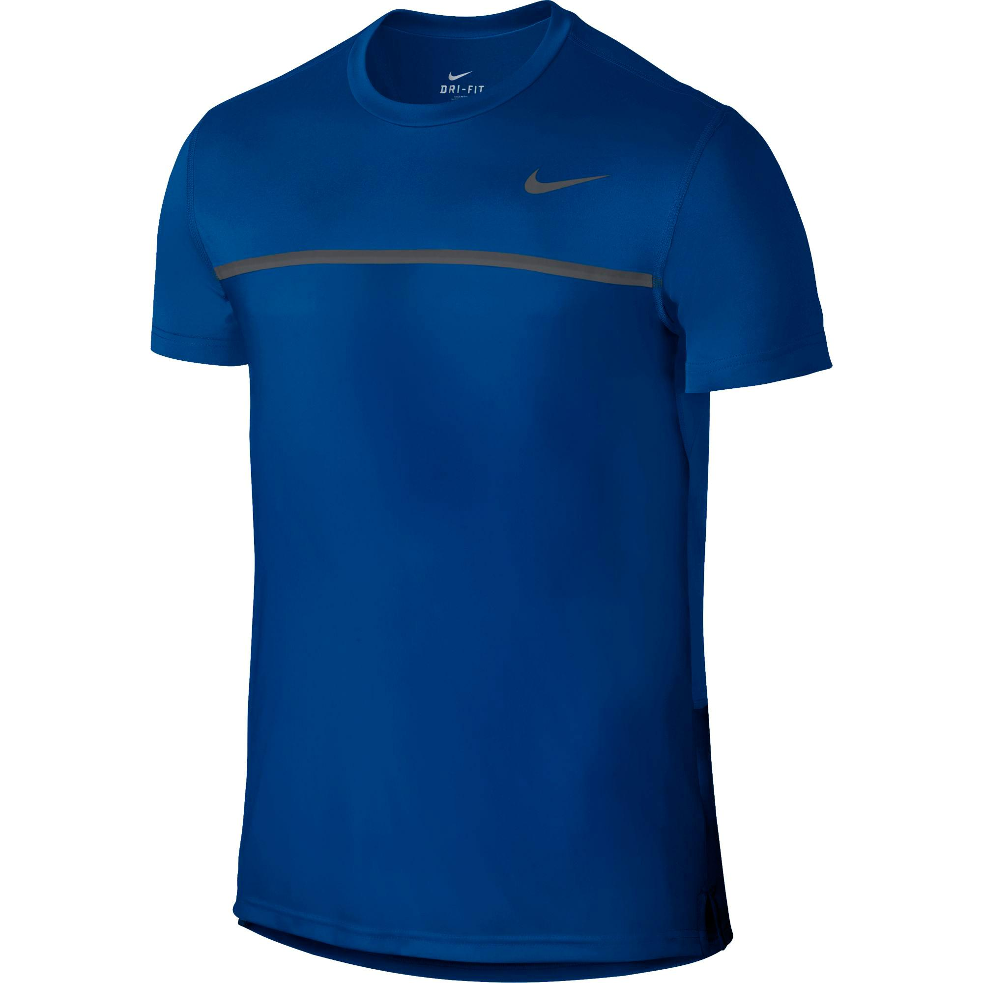 d7b8b511 Nike Mens Challenger Crew Neck Tennis Shirt - Blue Jay - Tennisnuts.com