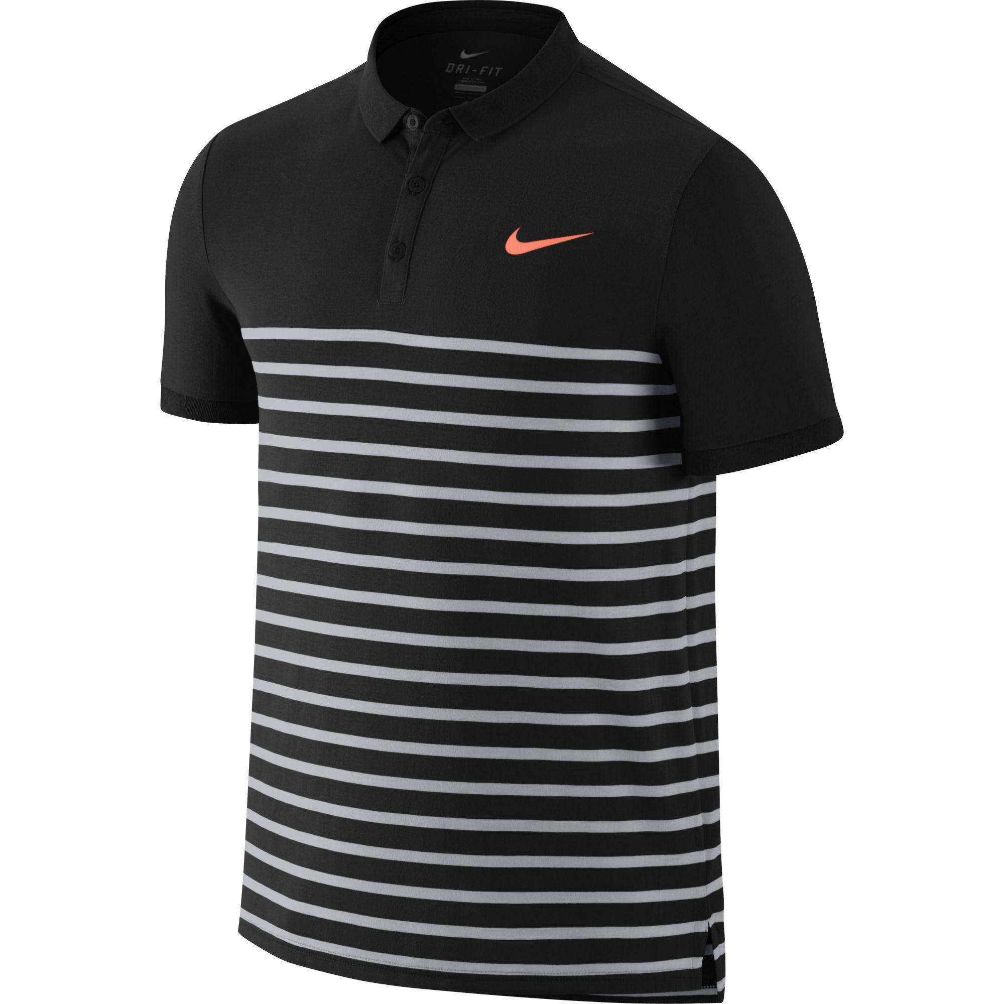 Nike Mens Advantage Dri-FIT Cool Polo - Black Hot Lava - Tennisnuts.com daff56fd4885