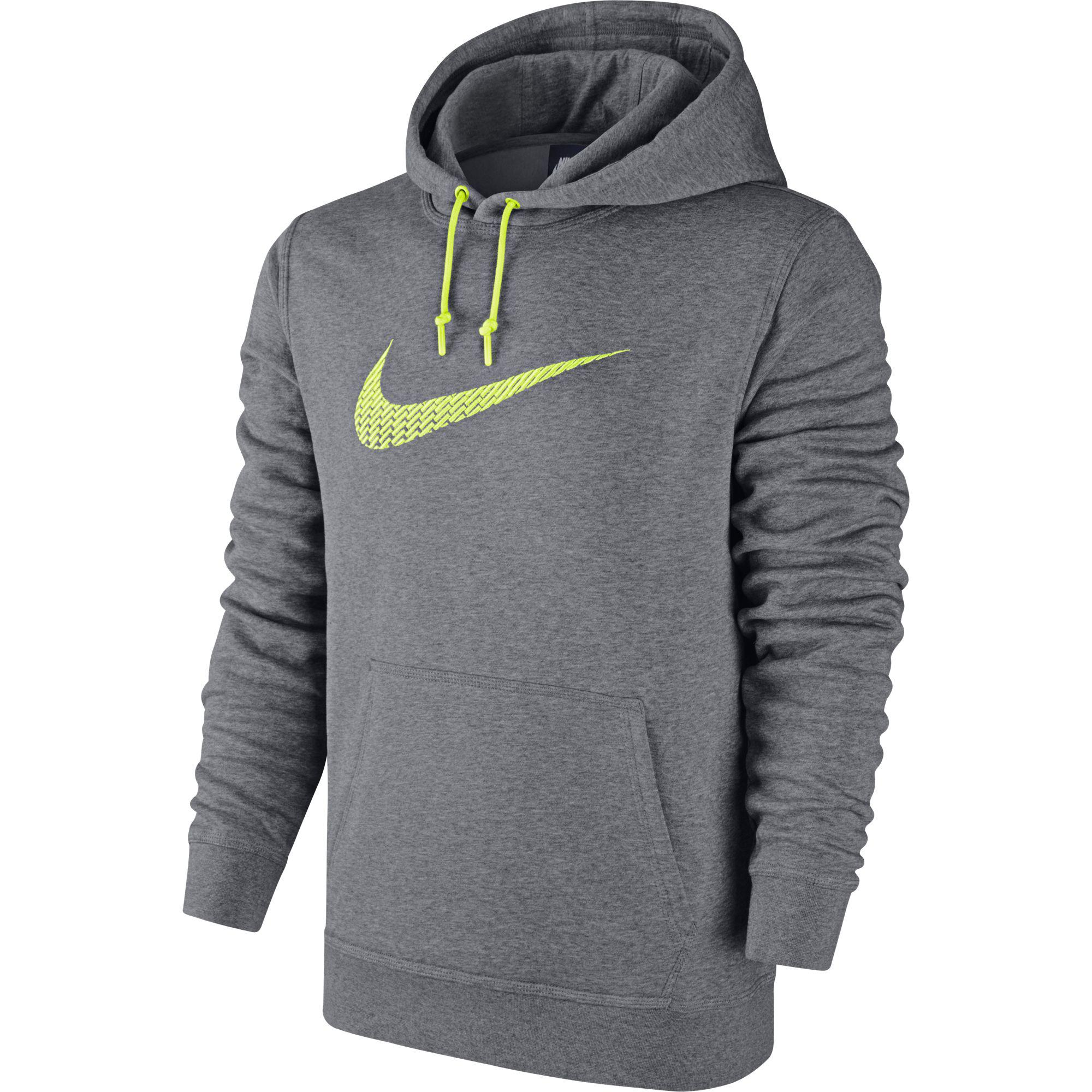 Nike Mens Club Swoosh+ Fleece Hoodie - Carbon Heather