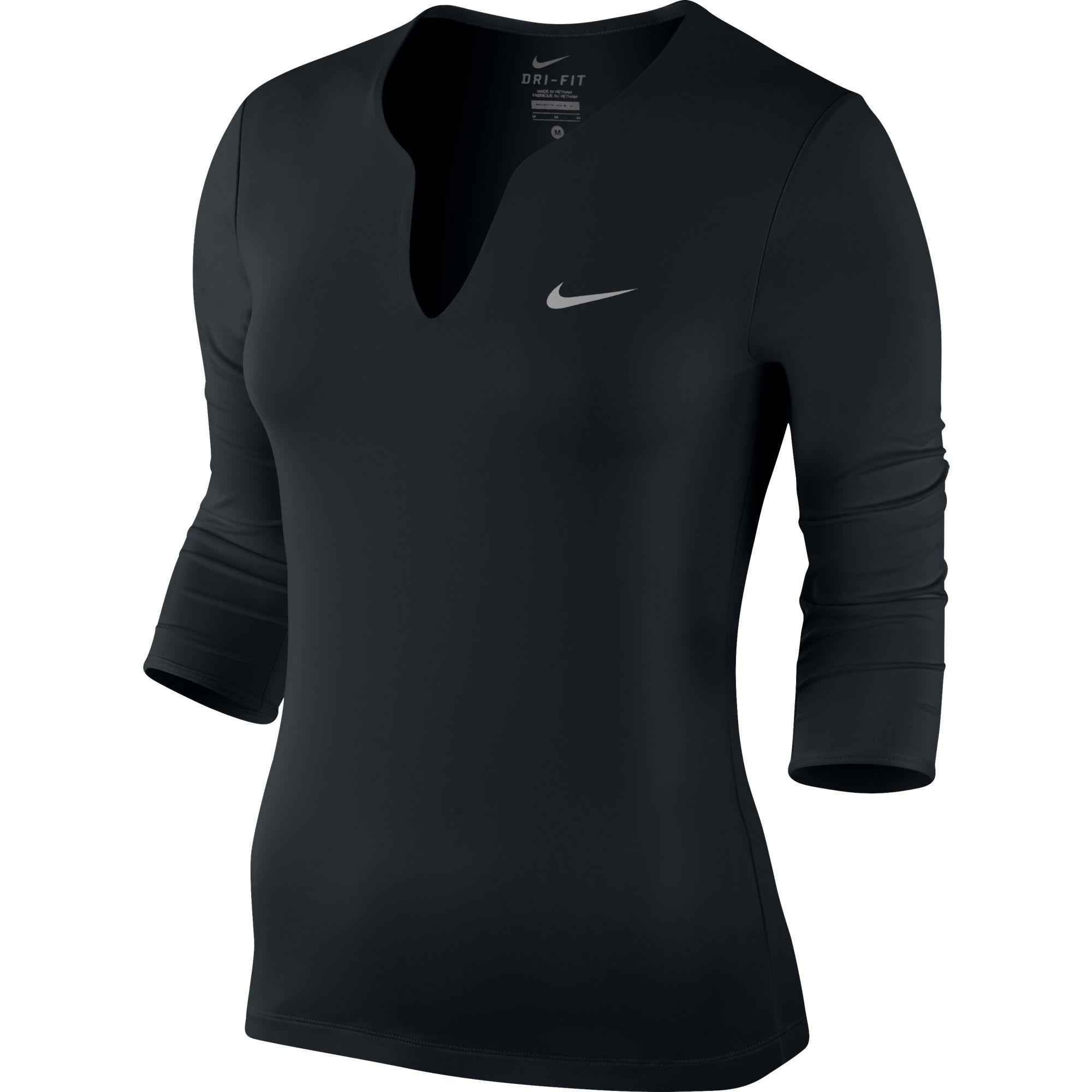 f71f660c7 Nike Womens Pure Long-Sleeve Top - Black - Tennisnuts.com