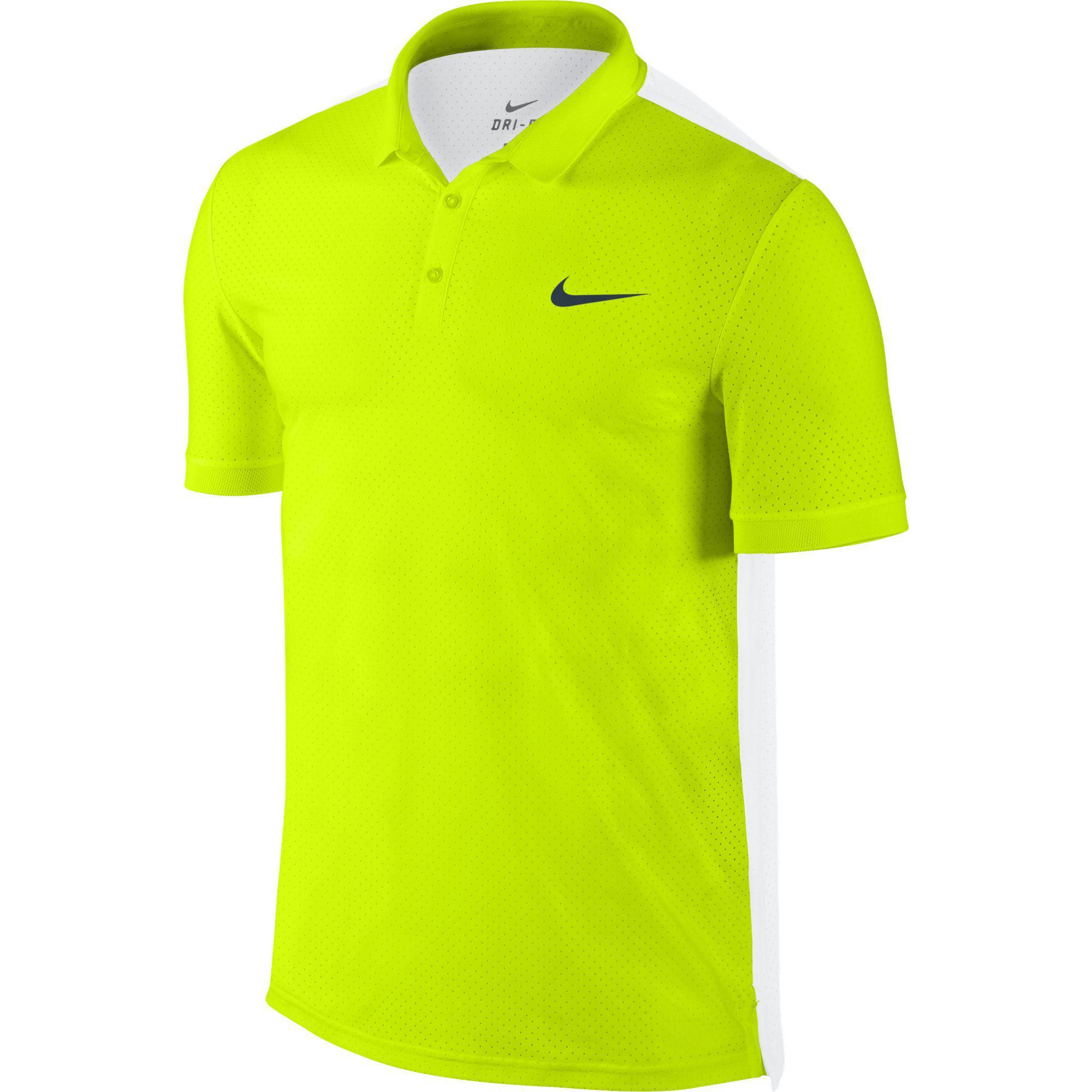 55247d9f36 Nike Mens Advantage Breathe Polo - Volt/White - Tennisnuts.com