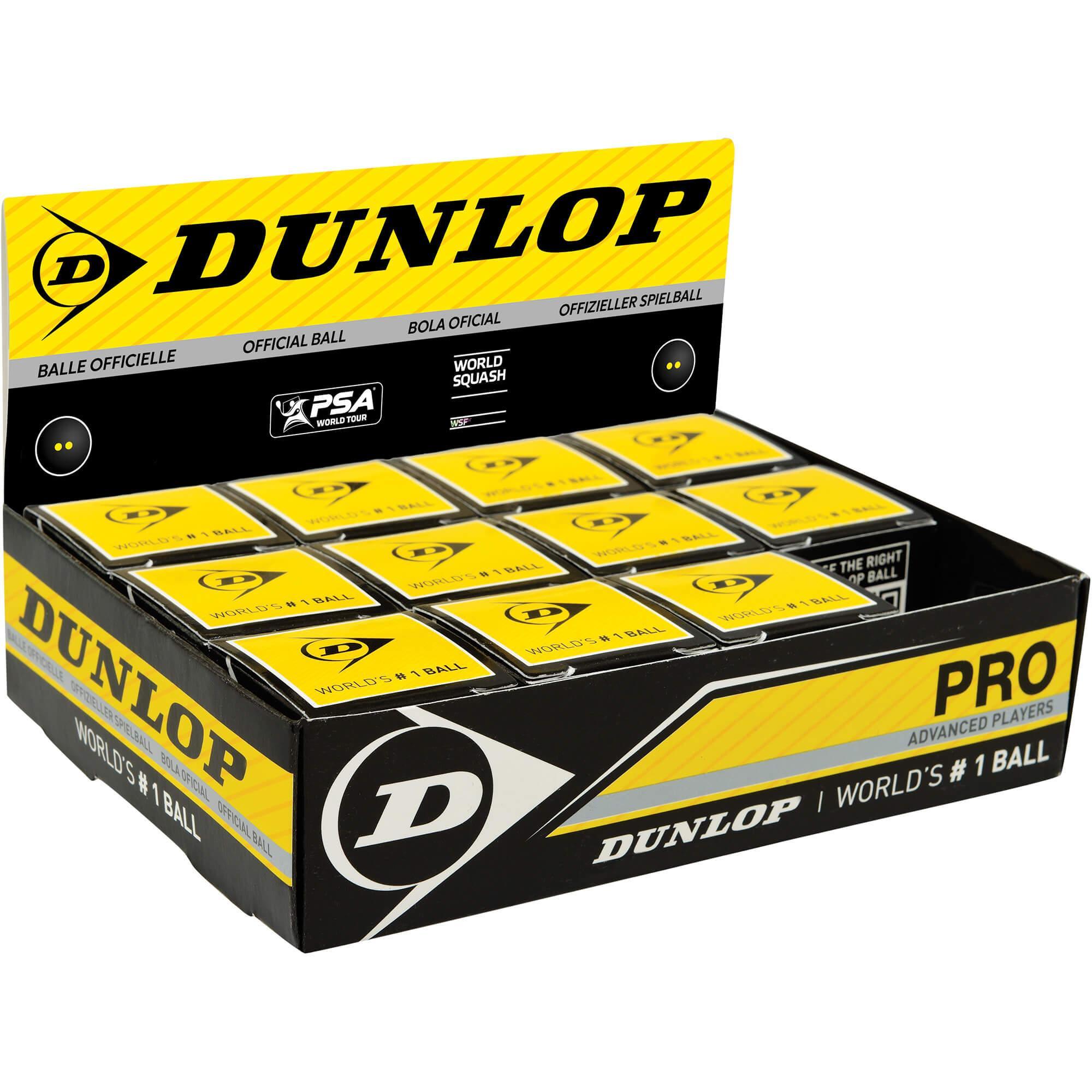 Double Yellow Dot 12 1 Dozen Dunlop Pro Squash Balls