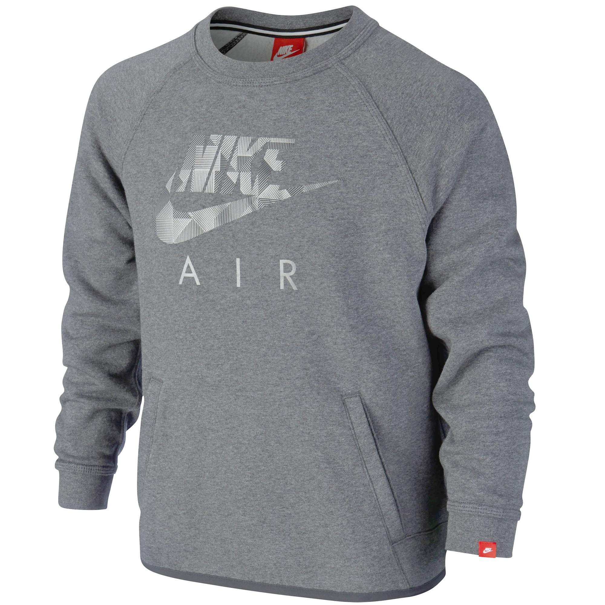 2235da05 Nike Air Boys Brushed Fleece Flash Crew Sweatshirt - Grey - Tennisnuts.com