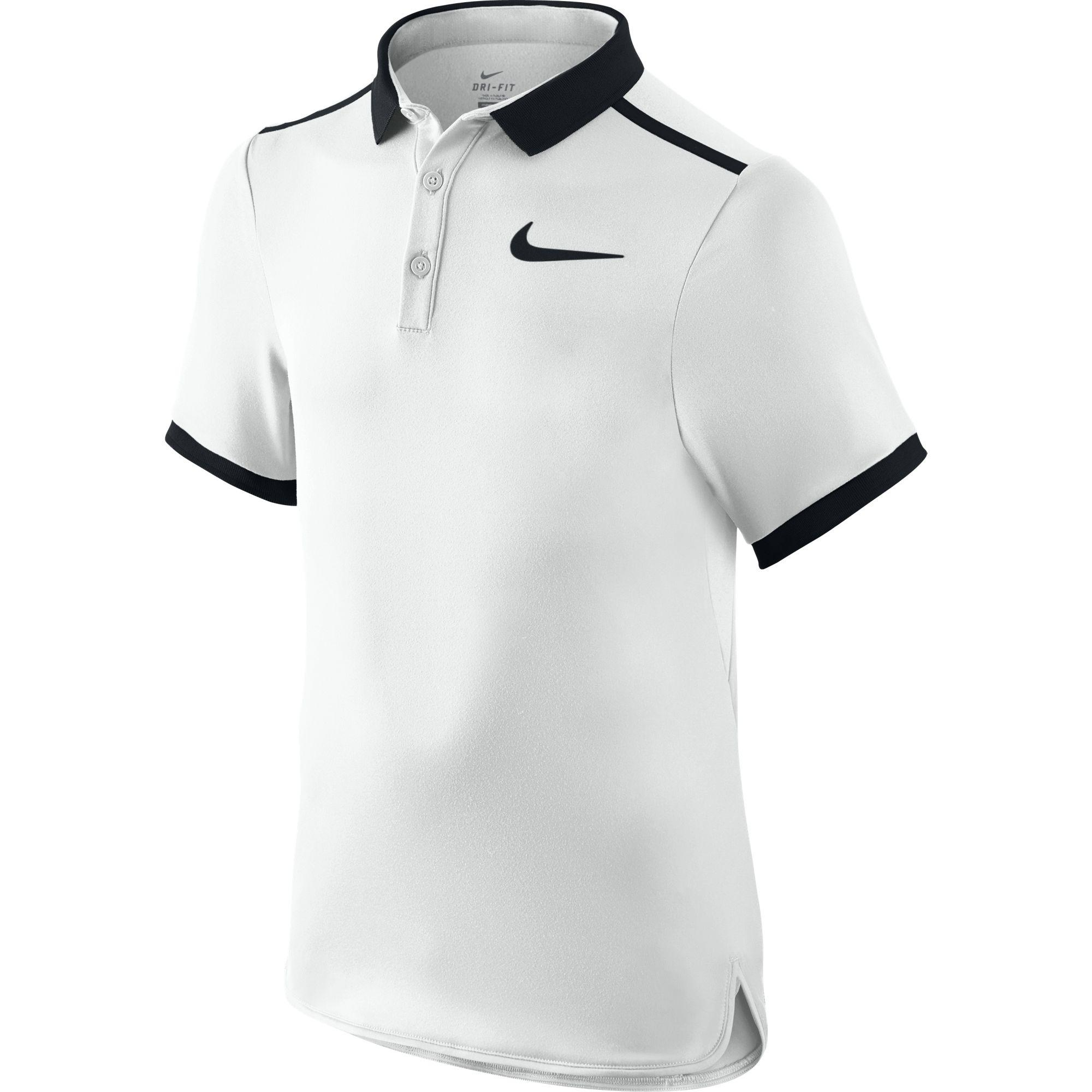 f94bd8aa Nike Boys Advantage Solid Polo - White/Black - Tennisnuts.com