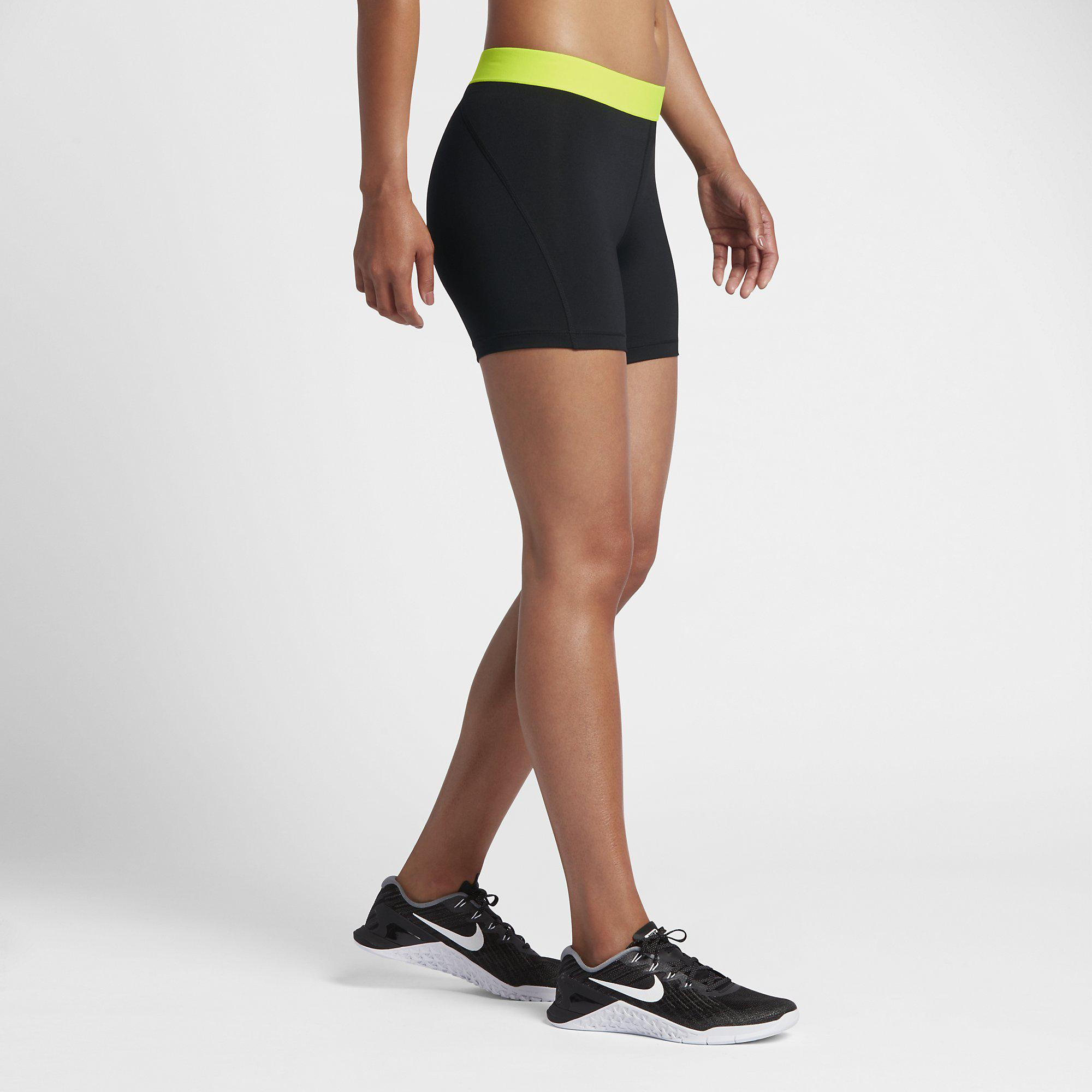 477d253b71d Nike Womens Pro Training Shorts - Black Volt - Tennisnuts.com