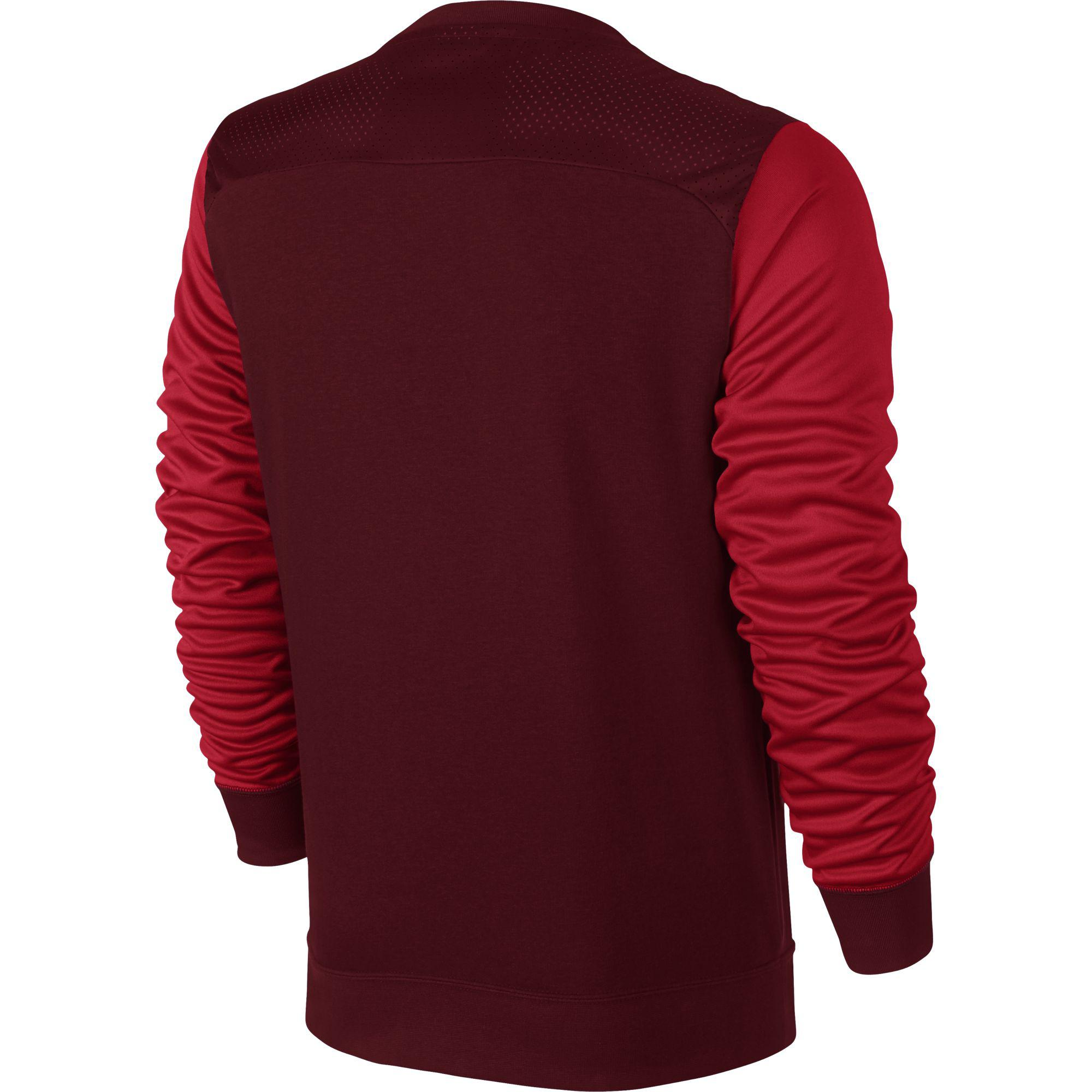 30a74bf65 Nike Mens Air Hybrid Fleece Crew Long Sleeve Top - Red - Tennisnuts.com